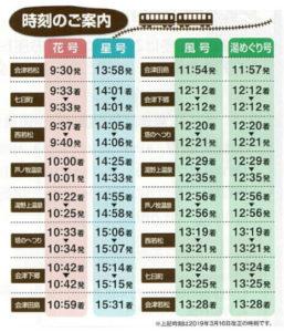 お座トロ展望列車時刻表